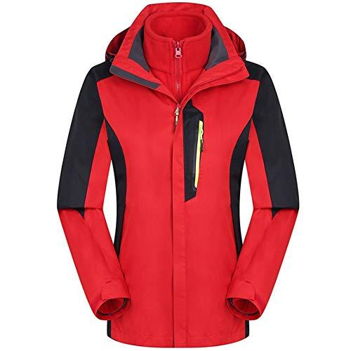 YWZQ Outdoorjas, voor dames, waterdicht, winddicht, ademend, 3-in-1 Plus velours, afneembaar, pak voor bergbeklimmen, skiën, wandelen, bergbeklimmen