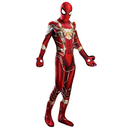 Homme Classique Cosplay Costume Fer Rouge Spiderman Cosplay Costume Serré Festival Halloween Carnaval Party Cosplay Costume Red(Black eyes + clothing)-XXL