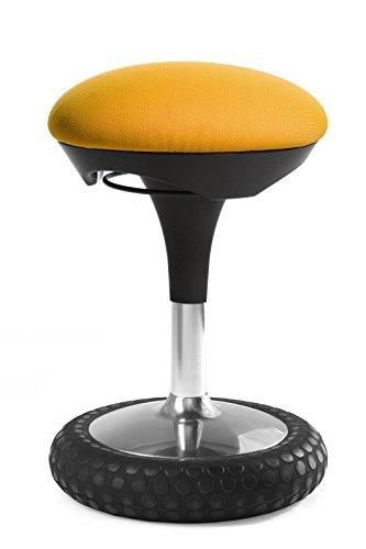 Topstar Sitness 20, ergonomischer Sitzhocker, Arbeitshocker, Bürohocker mit Schwingeffekt, Sitzhöhenverstellung, Bezug gelb