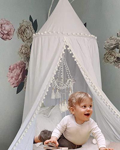 Toldo de cama redondo con pompón, mosquitera, dosel de cama para sala de lectura de niños, decoración de guardería, decoración de dormitorio