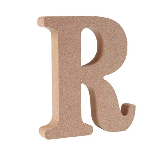 Freeas Freestanding Wooden Letters, Alphabet Decorative Wood Letters Hanging Wall 26 Letters DIY Words Sign for Children Baby Name Girls Bedroom Wedding Birthday Party Home Décor (R)