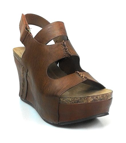 Pierre Dumas Hester-10 Women Low Wedge with an Adjustable Side Buckle,Whisky,8