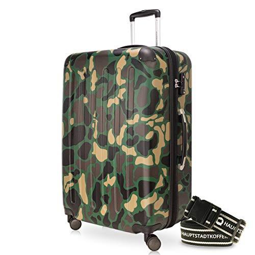 Hauptstadtkoffer - Spree Hartschalen-Koffer-XL Koffer Trolley Rollkoffer Reisekoffer Erweiterbar, 4 Rollen, TSA, 75 cm, 119 Liter, Camouflage +Gepäckgurt