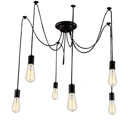 Asvert Pendelleuchte Vintage Multi Cord Edison Birne Loft Schwarz spider lampe Scheune Hängelampe Beleuchtung, Schwarz (ohne Leuchtmittel) (6 Köpfe)