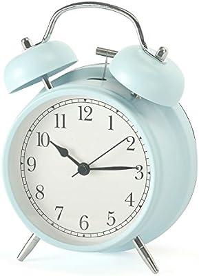 Shozafia 3インチ 4インチ クラシカル レトロ ツインベル 目覚まし時計 ミュート サイレント クォーツムーブメント カチッとは音が出ない アナログ朝 目覚まし時計 夜間ライトバックライト付き 子供用