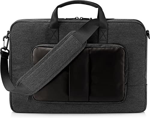 HP - PC Lightweight Tasche für Notebooks bis 15,6 Zoll (39,6 cm), Computer- oder Tablet-Fach, 3 Schnellzugriff und 8 versteckte Taschen, wasserdicht, Abnehmbarer Schultergurt, schwarz