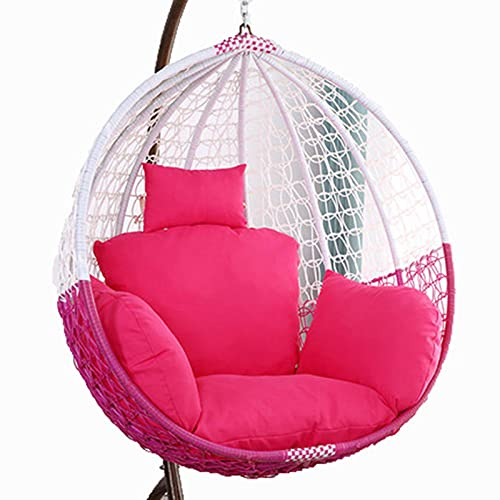 Egg Chair Cushion Only, Hanging Swing Chair Seat Cushion Replacement, Thicken Hanging Hammock Chair Cushion with Headrest and Armrests, Outdoor Garden Chair Pads Rose Red