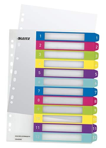 Leitz Register für A4, PC-beschriftbares Deckblatt und 12 Trennblätter, Taben mit Zahlenaufdruck 1-12, Überbreite, Mehrfarbig, Polypropylen, WOW, 12440000