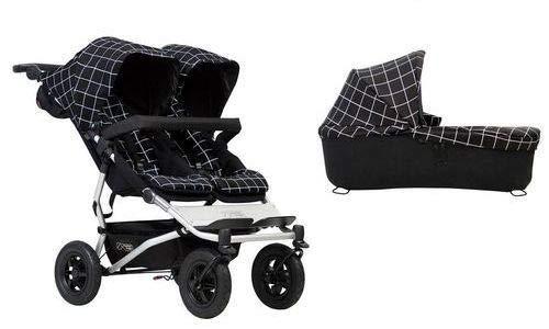 Mountain Buggy duet buggy V3 como cochecito de doble asiento + 1 portabebés – Grid