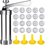 Classic Stainless Steel Cookie Press,Featuring 20 Decorative Stencil Discs and 4 Icing Tips,Deluxe Spritz Cookie Press...