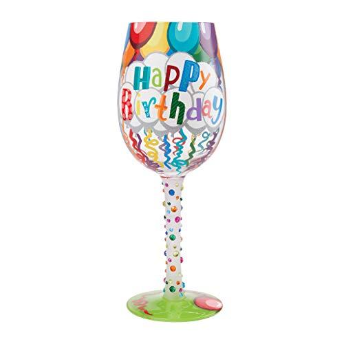 Enesco 6009211 Designs by Lolita Happy Birthday Streamers - Copa de vino pintada a mano, multicolor