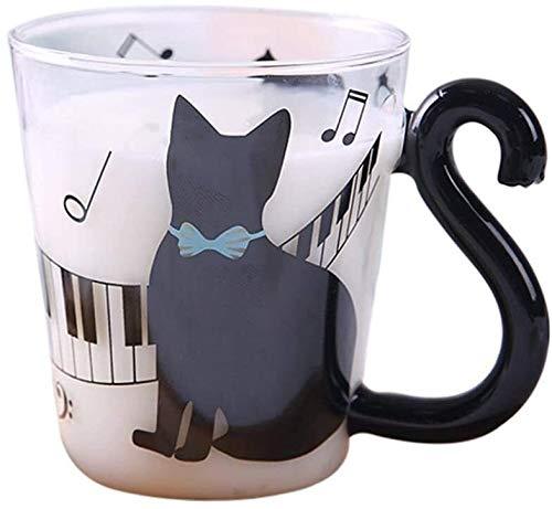 Niedliche Katzen-Tasse aus Glas mit niedlicher Katze, Teetasse, Milchbecher, Kaffeetasse, blaues Klavier für Kätzchenliebhaber (Farbe: Blaues Klavier)
