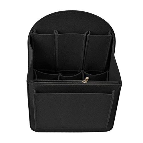 Yuena Care Taschenorganizer Handtaschenordner Bag in Bag aus Filz Schwarz M