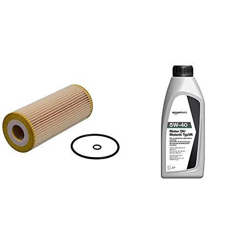 Febi 22544 filtro de aceite + Amazon Basics - Aceite de motor 5W-40 TypVR, 1l