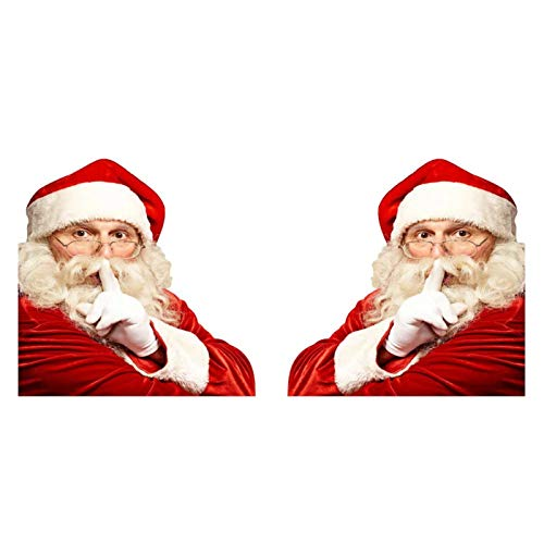 Lucky 99 2020 3D Realistic Santa Claus Car Rear Window Sticker with Keep Quiet, Blow Snow & Greet Pattern - Christmas Window Clings - Window Sticker Wall Sticker for Xmas Decoration (Keep Quiet, 2PC)