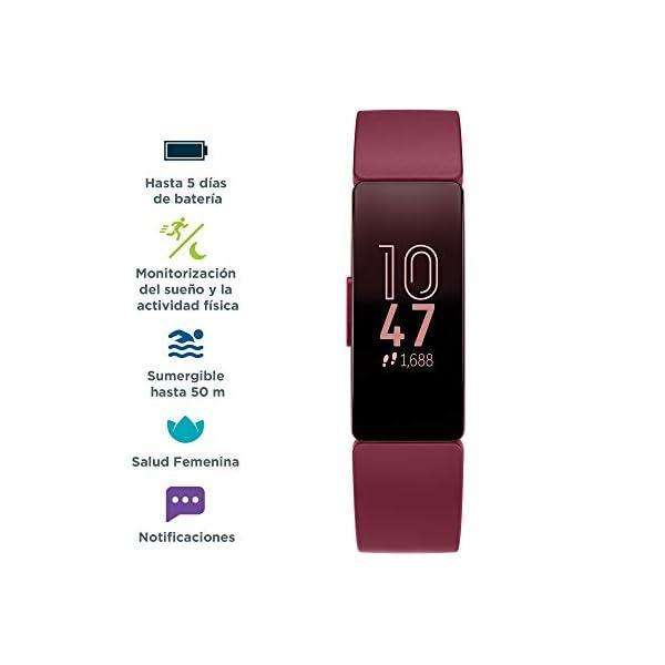 Fitbit Inspire HR, Pulsera de salud y actividad física con ritmo cardiaco, Blanco/Negro 4