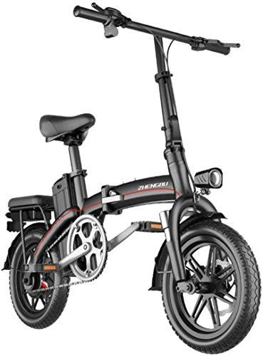 RDJM Bici electrica Bicicletas eléctricas rápidas for Adultos portátil fácil de almacenar, 14' Bicicleta eléctrica/conmuta Ebike con la conversión de frecuencia de Alta Velocidad del Motor, la bater