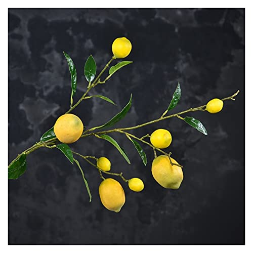 Image of fake flowers Artificial Lemon Branch Lemon Fruit, Artificial Plant Tree, Floor-To-Ceiling Floral Green Plant Decoration In The Hotel Decoration Model Room for Real Feeling 5 Lemon Branches (Y