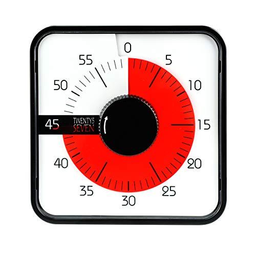 19CM Countdownuhr Visueller Zeituhr Lernuhr Zeitdauer Uhr mit Restzeit-Anzeige Zeitmanagement Kurzzeitwecker Lernen Schule Grundschule Timer, laut Alarmton, Schwarz