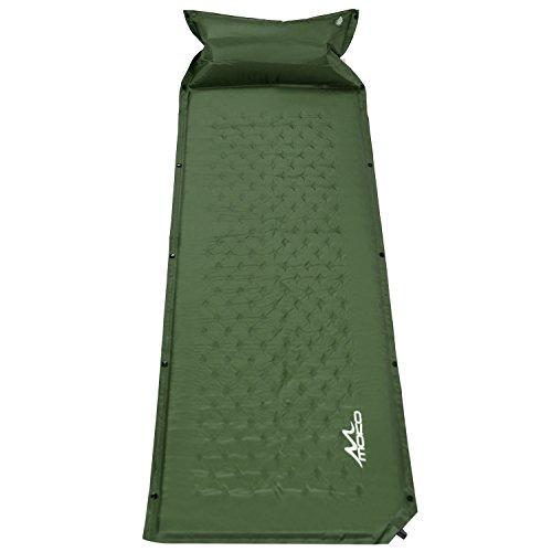 MoKo Selbstaufblasbare Luftmatratze, Wasserdicht, Leicht und Gemütlich Sleeping Pad Luftbett mit aufblasbarem Pillow für Outdoor Camping, Wandern, Reise, Trekking, Armee Grün, 185 x 60 x 2.5 cm