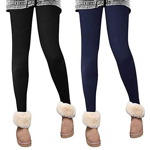 Campsnail Leggings térmicos forrados de cintura alta para mujer, para invierno, cálidos, con forro polar interior, opacos, deportivos, largos, 2er Pack-schwarz+navy, 44-50
