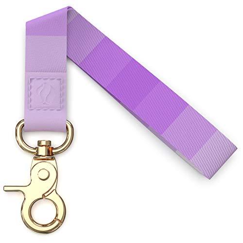 Rose Lake Correa de muñeca con cordones coloridos para llaves de coche, insignias de identificación, muñeca de mano con cierre de metal y cuero para mujeres niñas (lavanda degradado)