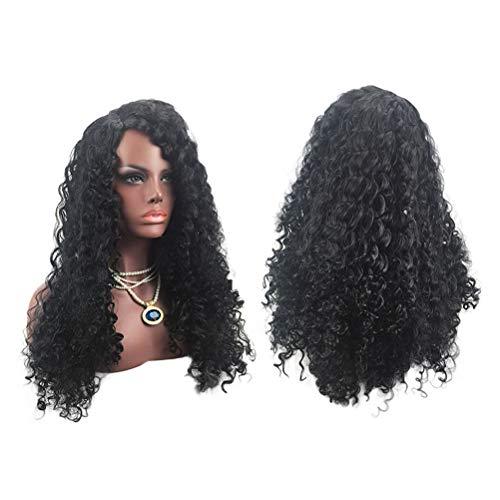 Femmes Noire Longue Perruque Style Européen Et Américain Naturel À La Recherche Exquise Élastique Net Curvy Perruque Couverture