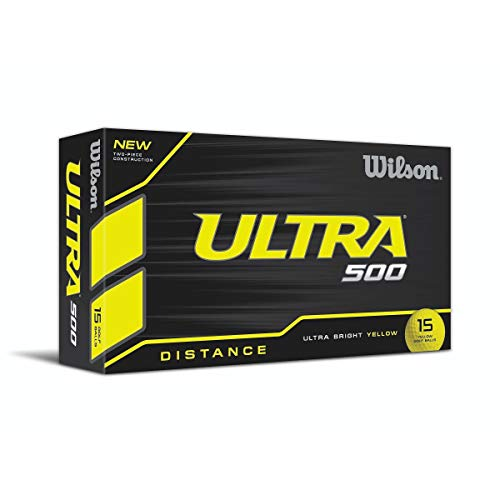 WILSON Ultra 500 -Pelotas de Golf (Paquete de 15), Amarillo