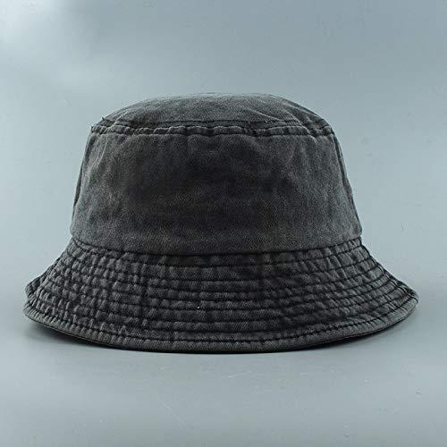 YUHOOE Sombrero De Pescador Plegable Sombreros De Cubo De Mezclilla Lavados Unisex Moda Bob Gorras Gorra De Hip Hop Hombres Mujeres Gorra De Cubo/Sombreros De Arbusto Sombrilla,Negro,55,59Cm