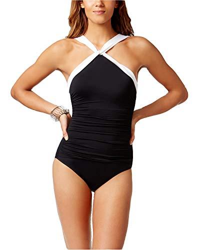 Lauren Ralph Lauren Beach Club Badeanzug mit hohem Ausschnitt, Bauchkontrolle, 1 Stück, Schwarz
