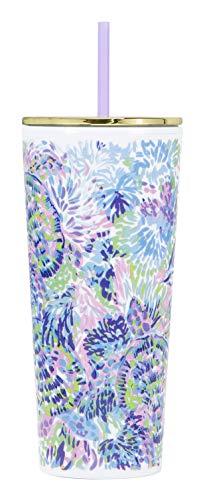 Lilly Pulitzer Isolierbecher mit wiederverwendbarem, flexiblem Strohhalm, doppelwandig, Fassungsvermögen: 680 ml, Violett / Blau / Grün