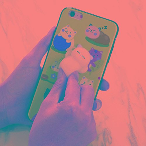 SGJFZD Para iPhone 6 y 6s 3D Relieve Emblema IMD Squishy Dropproof Funda Protectora de la contraportada Fondo Verde Encantador Gato Patrón de Dibujos Animados Apretar