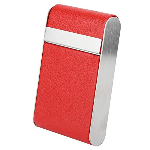 Jeffergarden Hold 20 Cigarettes Stainless Steel Smoker Women Men Cigar Case Pocket Carrying PU Gift(Red)