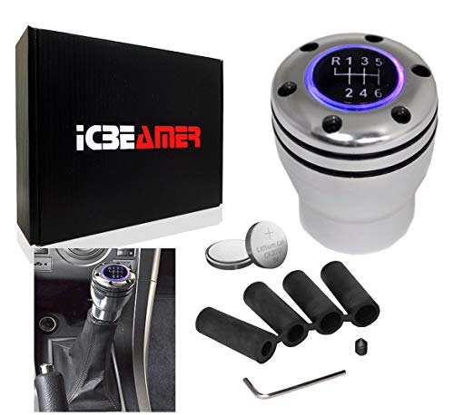 ICBEAMER JDM Racing Style Silver Aluminum Manual Transmission Gear Stick Shift Knob with Purple LED Light Top Glow