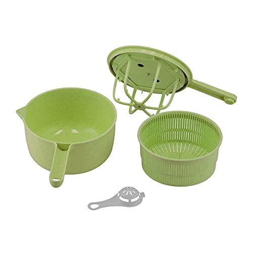 Lavadora de verduras extraíble con mango largo, centrifugadora de verduras, lechuga, secadora, escurridor, colador para verduras, cocina casera, lavado y secado de verduras de hoja(verde)