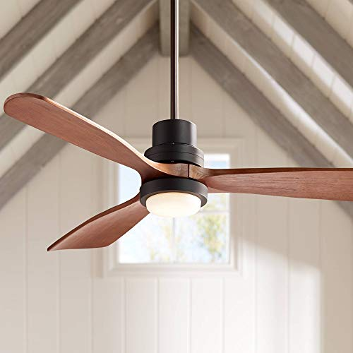 """52"""" Casa Delta-Wing Modern Outdoor Ceiling Fan with Light Solid Wood Oil Rubbed Bronze Damp Rated for Kitchen Patio - Casa Vieja"""