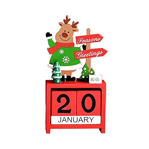 Wood.L Calendario De Adviento Navideño con Bloques De Madera, Reno, Muñeco De Nieve, Santa Claus, Calendario Navideño De Madera para La Oficina En Casa