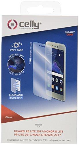 Preisvergleich Produktbild Celly Glass Anti-Blue-Ray Clear Screen Protector P8 Lite (2017) 1pc (S) Screen Protectors (Clear Screen Protector,  Mobile Phone / Smartphone,  Huawei,  P8 Lite (2017),  Tempered Glass,  transparent)