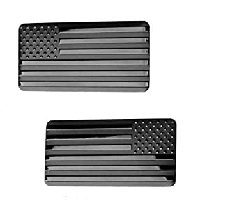 2X AR15 Lower American Metal Flags 2 inches by 1 inch Black Embossed Decals Emblems 2pcs Set  Black 2 x1