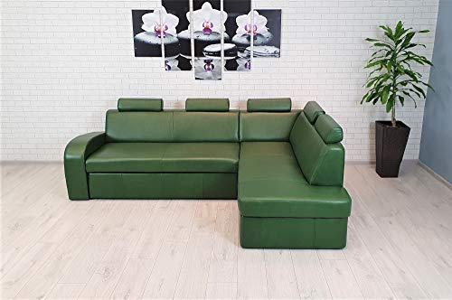Antalya II 5z - Sofá esquinero de piel auténtica, color verde, 245 x 164 cm, con función de dormir, con cajón y reposacabezas, color verde antiguo (esquina derecha)