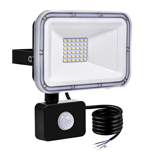 TYCOLIT Faretto LED da Esterno con PIR Sensore di Movimento, 30W 3000 lumen Bianco Diurno 6000K, Proiettore Faretto da Esterno Impermeabile IP67 per Giardino, Corridoio, Illuminazione Esterna