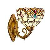 Jsyuany Lámpara de Pared de Estilo Tiffany Lámpara de Mesita de Noche, Pantalla de Vidrio Luces de Pared de Moderna, Lámpara de Espejo de Baño Sala de Estar Pasillo Iluminación de Pared Decorativa