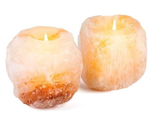 mockins 2.5 lbs 2 Pack Natural Himalayan Salt Tea Light Candles Holders | Great Room Decor