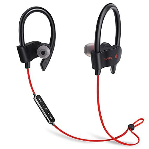 ZKK Auriculares Bluetooth inalámbricos, auriculares estéreo con Bluetooth montados en la oreja, auriculares deportivos portátiles Bluetooth para ciclismo, correr, deportes (color: rojo)