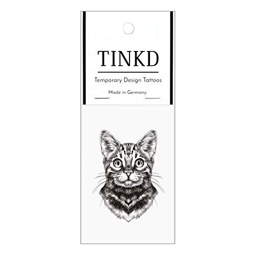TINKD Tattoo aufklebbar - Klebe-Tattoo Katze - Tattoo Tiere - Made in Germany
