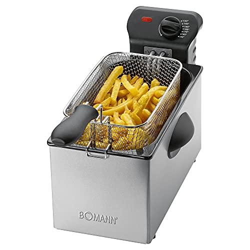 Bomann FR 2264 CB Edelstahl-Fritteuse 2,5L Perfekt für Pommes Frittes u. Nuggets, geruchsarmes frittieren, schnelle Erhitzung Thermostat stufenlos einstellbar