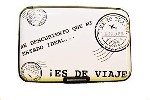 NIGHTMARE STYLE Tarjetero con función Bloqueo RFID y NFC (Blanco). Presentación para Regalar. Porta-Tarjetas para Hombre o Mujer. Equipaje de Viajes