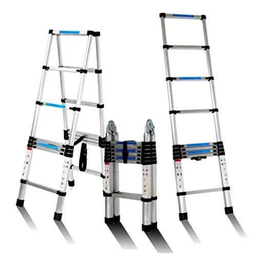 ALYR Aluminio Escalera Telescópica, Multiusos Escalera Extensible 6/8/10/12 peldaños Portátil Escalera con estabilizador Capacidad de Carga 150kg / 330lb,2.6m/8.5ft