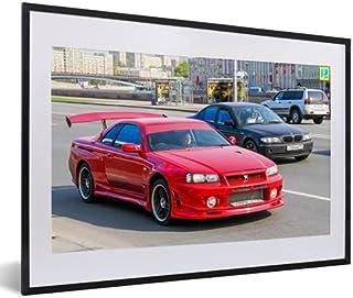 Poster met lijst Nissan Skyline - Poster met lijst Nissan Skyline GT-R - Rusland - Rood - 60x40 cm
