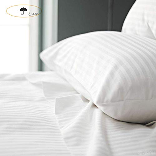Lynac Home Pillowcase Cotton 100% White Egyptian Set of 2 Standard Size Pillow Cases Covers with ZipperHypoallergenic Hotel Collection Soft and CozySatin Wrinkle Fade Long Staple Stain Resistant